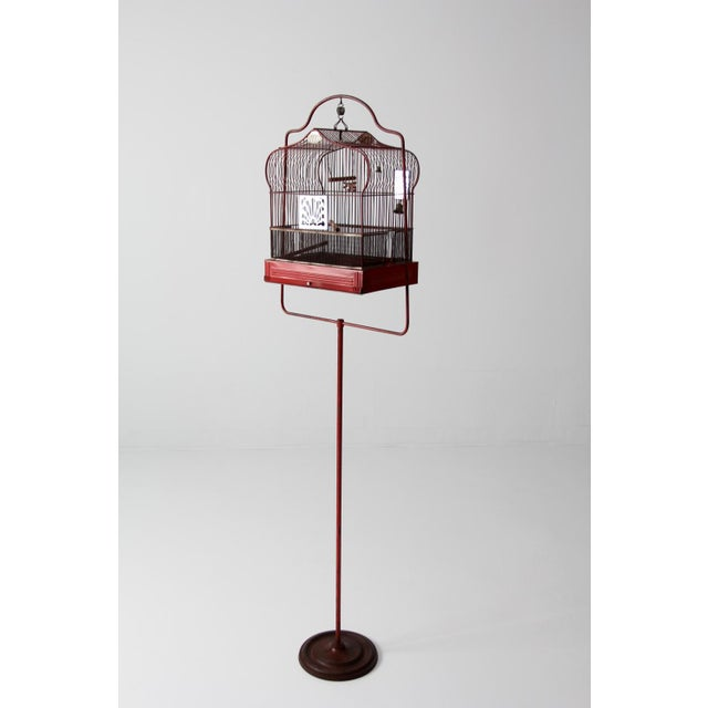 Antique Crown Bird Cage With Stand For Sale - Image 9 of 10