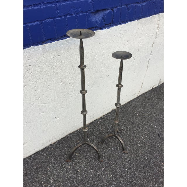 Gray Hand Forged Steel Floor Stand Candle Holders - a Pair For Sale - Image 8 of 9
