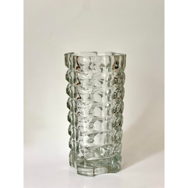 """large transparent glass vase designed by J. G. Durand in the 70s for Luminarc, marked """"France"""", ~9.5 inches tall good..."""