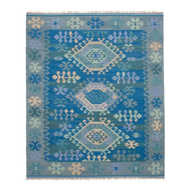 Vintage Turkish Blue and Beige Boho Chic Kilim Rug - 8′ × 10′ - Image 1 of 5