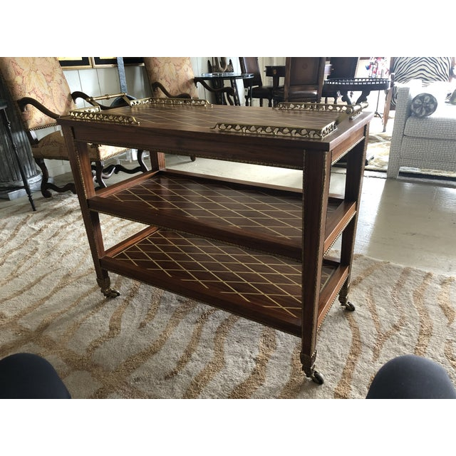 Italian Mixed Wood Inlay Bar Cart For Sale - Image 9 of 13