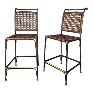 1960s Vintage Bar Stool With Brass Accent- A Pair For Sale
