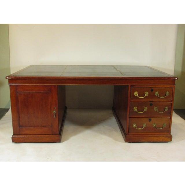 1900s Edwardian Partners Desk For Sale - Image 13 of 13