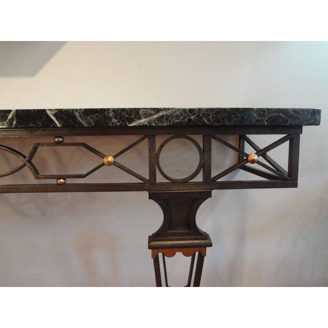 Art Deco French Neoclassical Gilbert Poillerat Style Wrought Iron Console Table For Sale - Image 3 of 10