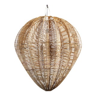 Honey Rattan Starfruit Lantern Large For Sale