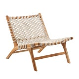 Image of Woven Rope Teak Easy Chair For Sale
