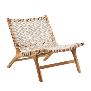 Woven Rope Teak Easy Chair For Sale