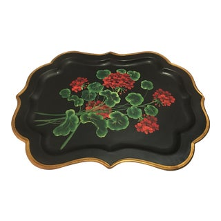 Hand Painted Geranium Tole Tray For Sale