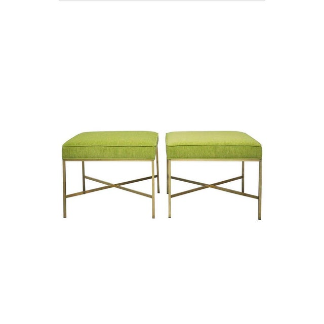 Metal Brass X-Base Stools with Chartreuse Upholstery by Paul McCobb - a Pair For Sale - Image 7 of 7