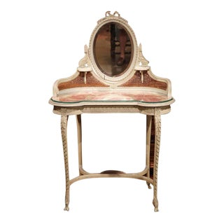 19th Century French Louis XVI Carved & Painted Vanity Coiffeuse