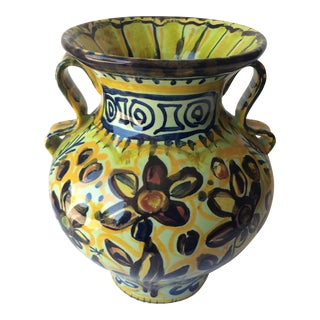 French Ceramic Vase With Handles From Quimper, France by Keraluc Pottery Studio For Sale