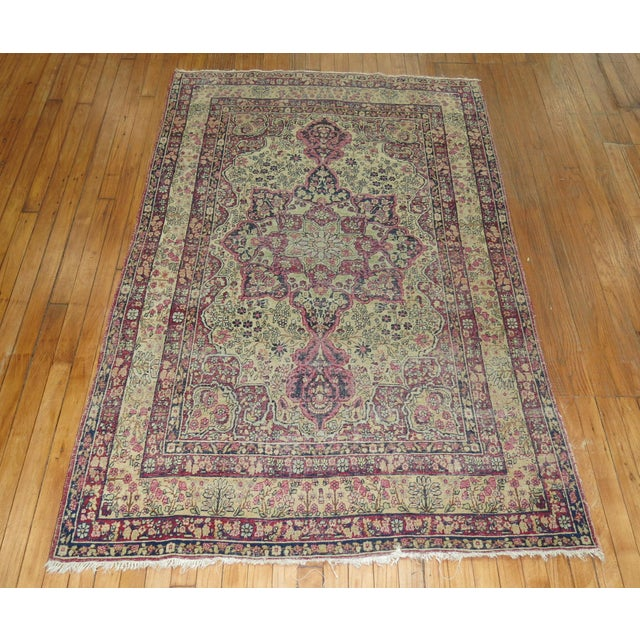 19th Century Lavar Kerman Rug, 4' x 6'4'' For Sale - Image 4 of 11