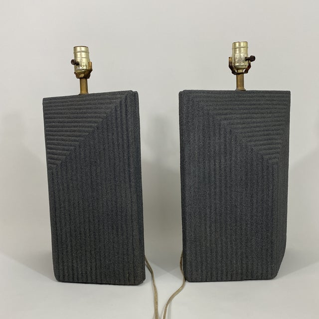 1980s Grey Postmodern Stepped Ceramic Lamp Pair For Sale - Image 9 of 13