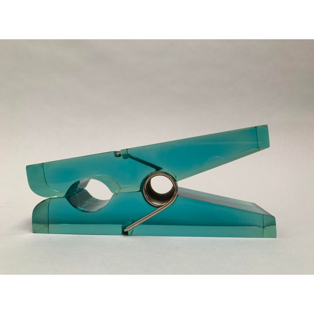 1970s Oversized Teal Lucite Clothespin Paperweight or Paper Holder For Sale - Image 5 of 13
