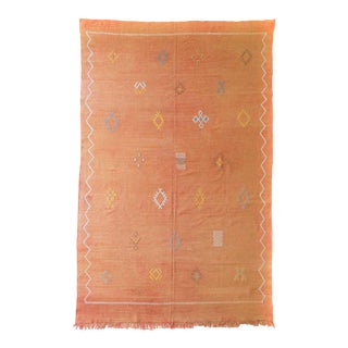 Faded Orange Moroccan Cactus Silk Rug - 6′ × 9′