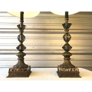 Hollywood Regency Bronze Lamps W/ Smoke Glass Crystals, Black Marble Bases Preview