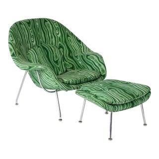 Eero Saarinen Knoll Malachite Womb Chair and Ottoman For Sale