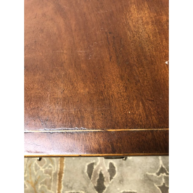 Satinwood Antique English Hepplewhite Sheraton Pembroke Inlaid Drop Leaf Table Walnut For Sale - Image 7 of 13