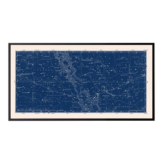 Large Antique Nautical Blue Constellation Celestial Print For Sale