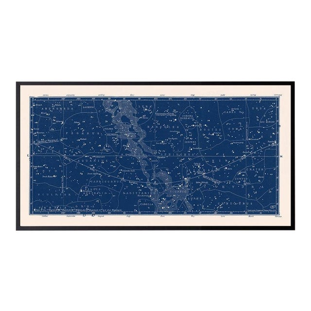 Large Antique Nautical Blue Constellation Celestial Print For Sale