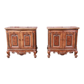 Drexel Heritage French Provincial Louis XV Carved Walnut Nightstands - a Pair For Sale