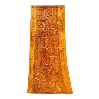 Vintage Polynesian Storyboard With Relief Carvings on Both Sides of a Heavy Wood Plank For Sale