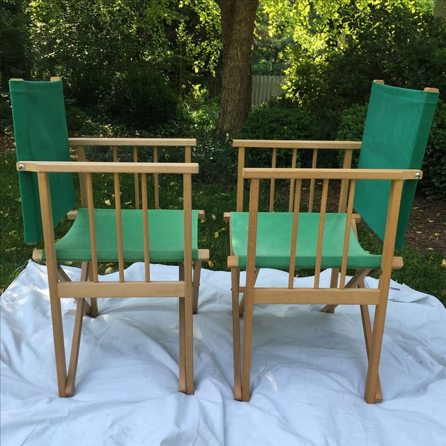 Danish Modern Vintage Hyllinge Mobler Director's Chairs - Pair For Sale - Image 3 of 7