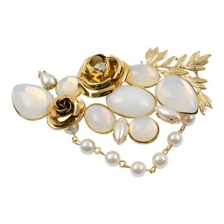 Zoe Coste Paris Signed Pin Brooch Gilt Metal Roses White Glass Rhinestones For Sale