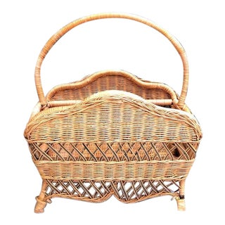 1970s Wicker Magazine Rack For Sale