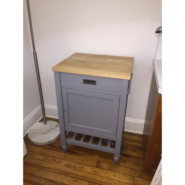 Crate & Barrel Kitchen Island With Butcher Block For Sale In New York - Image 6 of 10