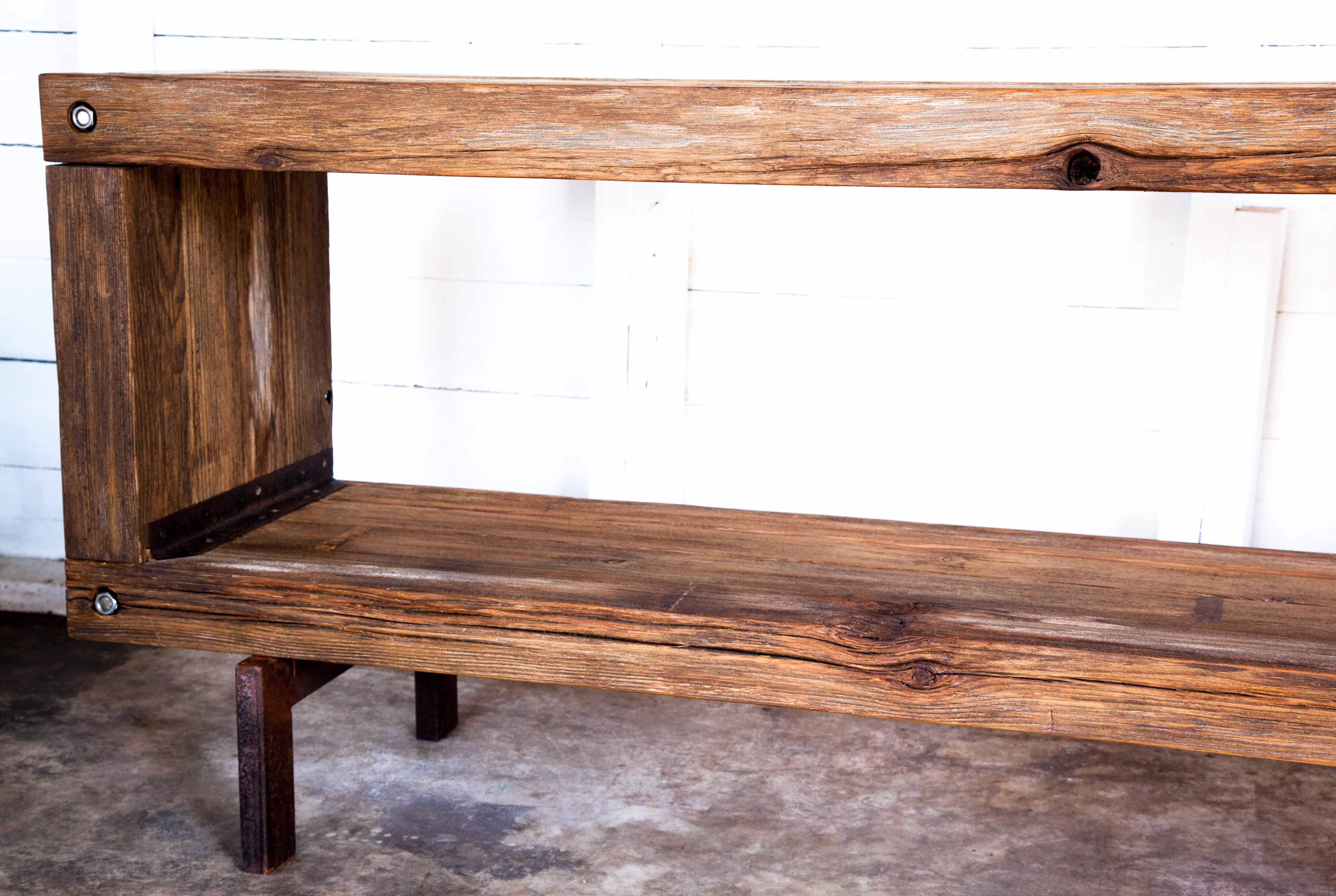 Vintage Brutalist Reclaimed Wood Widescreen Tv Media Entertainment Console    Image 4 Of 10