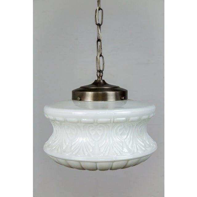 Molded Milk Glass Pendant Light For Sale - Image 4 of 8