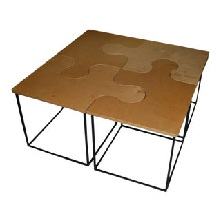 1980s Mid-Century Modern Maple Puzzle Coffee Table