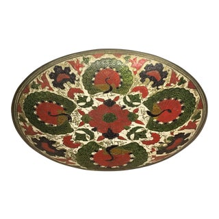 Bowl - 1950s Boho Chic Enamel on Brass Bowl For Sale