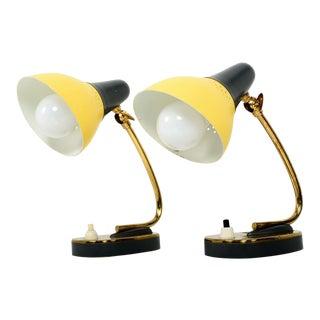 Stilnovo Italian Mid Century Modern Pair of Table Lamps Sassy Sculptural Shape For Sale