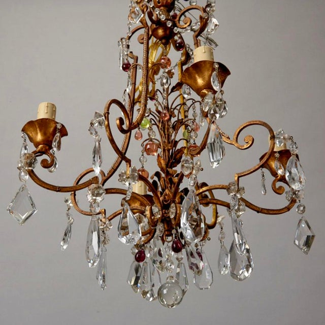 1920's Italian Four Light Crystal Chandelier With Colored Drops - Image 7 of 7