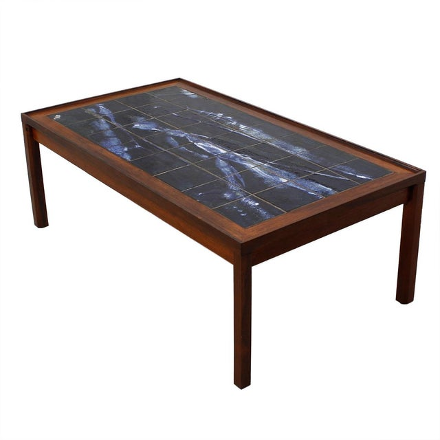 Large Danish Modern Coffee Table in Rosewood with White & Blue Tile Top For Sale In Washington DC - Image 6 of 6