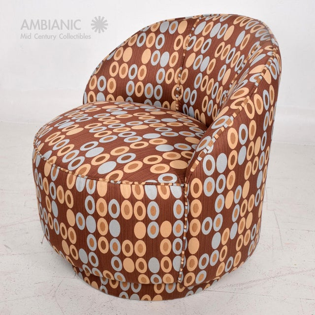 Fabric Pair of Mid-Century Modern Upholstered Chairs Attributed to Milo Baughman For Sale - Image 7 of 8