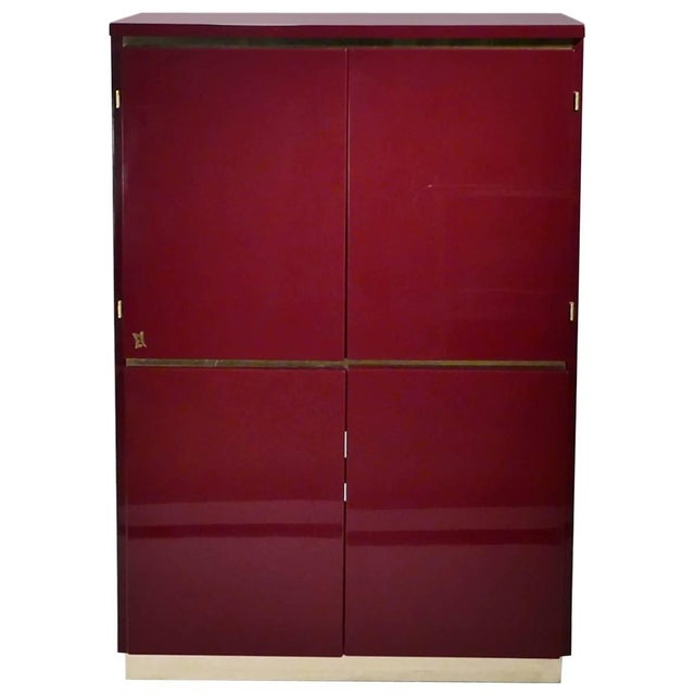 Red Red Lacquer and Brass Cabinet by j.c. Mahey, 1970s For Sale - Image 8 of 8