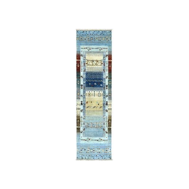 Textile Denim Blue Kashkuli Gabbeh Pictorial Wool Hand-Knotted Runner For Sale - Image 7 of 7