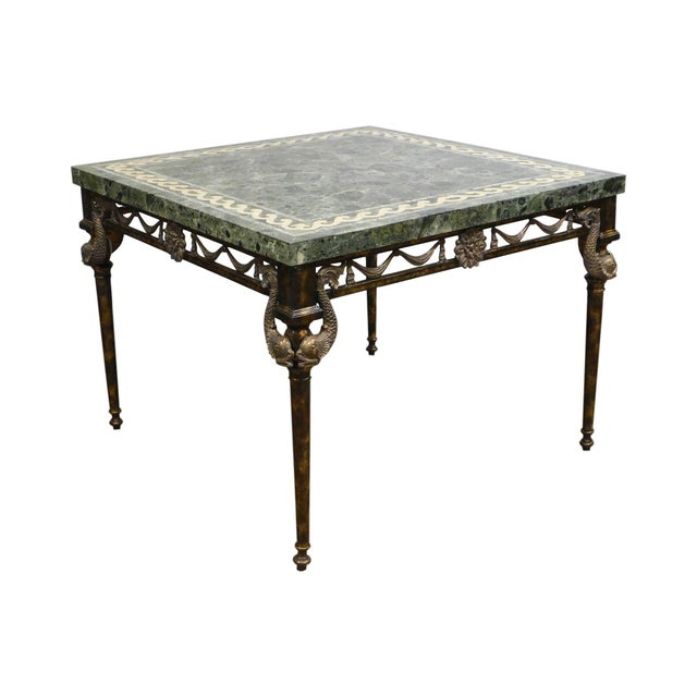 Maitland Smith Neo-Classical Square Marble Top Bronze and Iron Game Table For Sale - Image 13 of 13