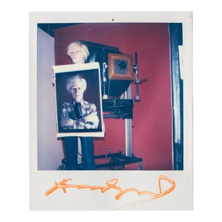 Polaroid of Andy Warhol Holding Polaroid by Bill Ray Signed Andy Warhol For Sale