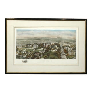 Antique Bird's-Eye View Collegiate Lithograph of Amherst College Circa 1890 For Sale