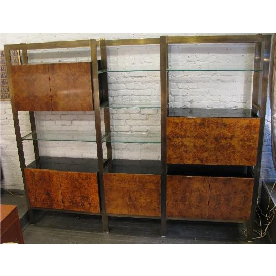 Gold Burlwood, Brass and Glass Wall Unit by John Stuart For Sale - Image 8 of 8