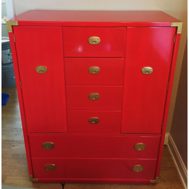 Thomasville Campaign Style Red Lacquered Armoire - Image 5 of 10