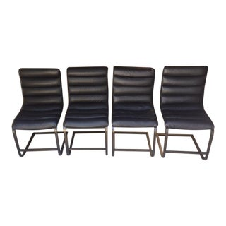 Rh Modern / Restoration Hardware Oviedo Black Leather Side Chairs - Set of 4