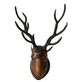 Large Deer Head Leather Covered Paper Mache Wall Mount For Sale