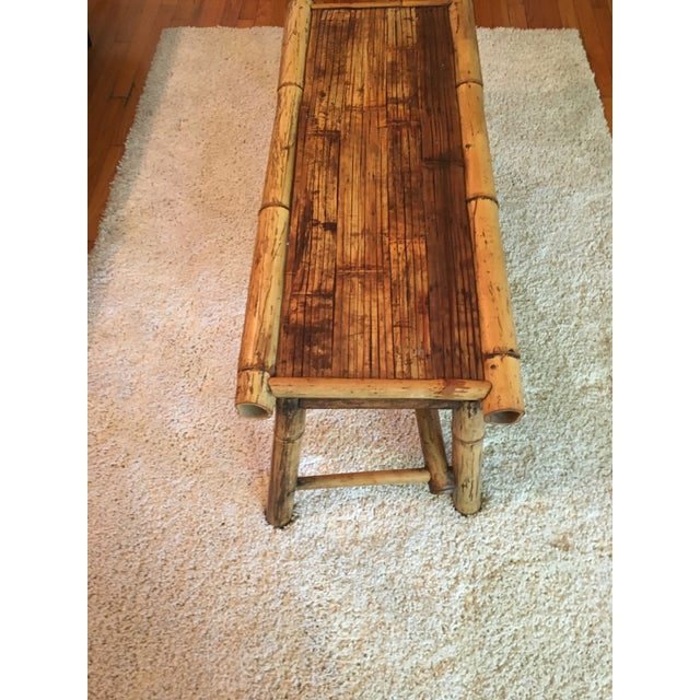 Vintage Bamboo Low Coffee Table - Image 4 of 5