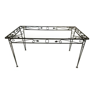 Mid Century Cast Iron Glass Top Table For Sale