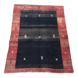 Vintage Persian Gabbeh Room Size Wool Rug - 7′7″ × 9′1″ For Sale
